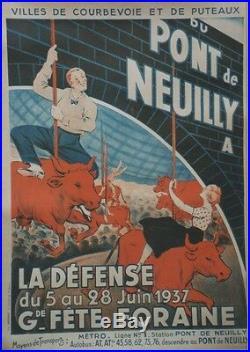 Gde FÊTE FORAINE LA DEFENSE 1937 Affiche originale entoilée Litho 63x83cm