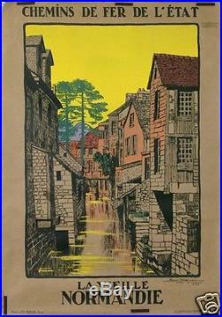 Geo Dorival Affiche Ancienne 1913 La Vielle Normandie Vire Chemin De Fer Est