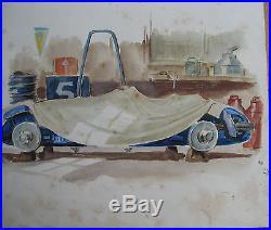 Geo Ham. Dessin Original. 28 X 24 Cm. Livre Labric 24 Heures Du Mans. 1949