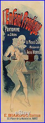 Grande Affiche Ancienne Pantomime 1890 par Cheret entoilée bon état