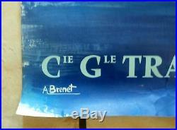 Grande Affiche Cie Gle TRANSATLANTIQUE paquebot DE GRASSE A. BRENET 1950