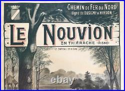 Grande Affiche Lithographie Ancienne Chemin De Fer Du Nord Le Nouvion 1910