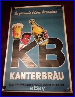 Grande affiche originale ancienne bière KB illustrateur P. Raoul 1954