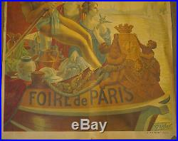 Grande et Ancienne AFFICHE Originale Foire de Paris ALPHONSE GREBEL 1918