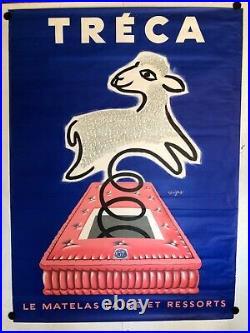 Grande et Rare affiche ancienne Savignac pour matelas Treca