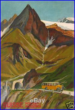 H. B. Wieland Affiche Ancienne Vintage Car Poster Suisse Postes Alpestre