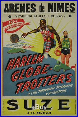 HARLEM GLOBE-TROTTERS ARENES de NIMES 1954 (SUZE) Affiche originale entoilée