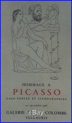 HOMMAGE à PICASSO (Gie de LA COLOMBE VALLAURIS 61)Affiche originale entoilée