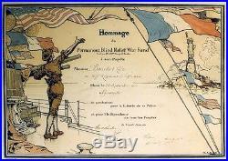 HOMMAGE du PERMANENT BLIND RELIEF WAR FUND Diplôme orig. Entoilé Charles MICHEL