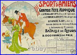 Henri Delaroziere Affiche Ancienne Sports D'amiens Grande Fete Hippique 1907