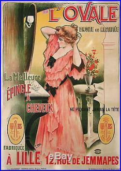 Henri Gray Affiche Ancienne L'ovale Épingle A Cheveux CI 1900