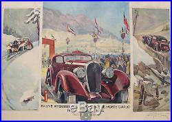 Hotchkiss. Rallye Automobile Monte Carlo. Lithographie. Geo Ham. 77 X 57 CM