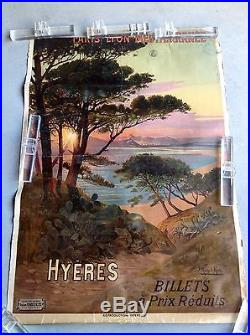 Hyeres d'Hugo Alési méditerranée poster vintage- affiche ancienne