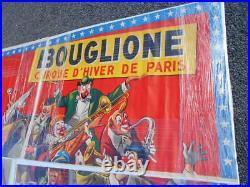 IMMENSE AFFICHE CIRQUE DE BOUGLIONE EPOQUE 1950/70 EN PAPIER (4 éléments)