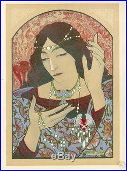 INVOCATION A LA MADONE D'ONYX VERT Litho L'ESTAMPE MODERNE Marcel LENOIR 1897