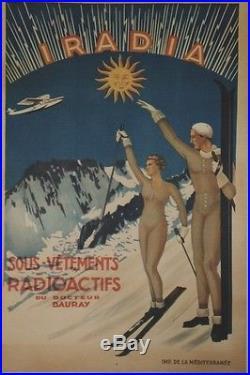 IRADIA Sous-vêtements radioactifsAffiche originale entoilée années 30 84x124cm
