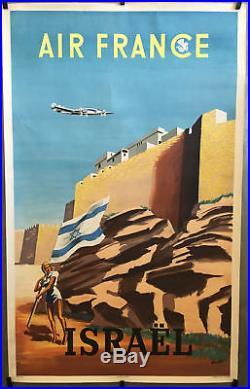 ISRAEL AIR FRANCE affiche touristique originale par Renluc 1949