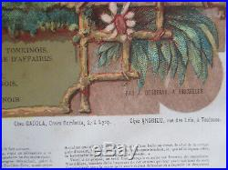 Indochine Tonkin Cochinchine Affiche Litho Ancienne 1870