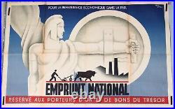 JEAN CARLU Affiche ancienne ci-1930' EMPRUNT NATIONAL RÉSERVÉ AUX PORTEURS D'OR