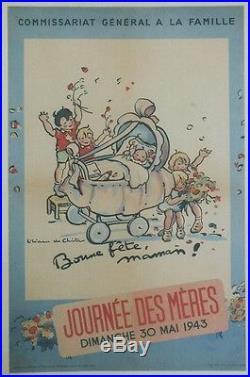 JOURNEES DES MERES 30 MAI 1943 Affiche originale entoilée Liliane De CHRISTEN