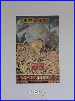 JULES VERNE / VOYAGES EXTRAORDINAIRES (HETZEL) Affiche originale entoilée