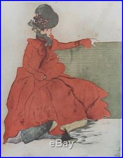 Jacques VILLON LA FEMME EN ROUGE (SUR UN BANC)Litho originale THE STUDIO 1901