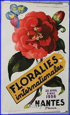 Jean Adrien Mercier 1956 Affiche Ancienne Nantes Floralies Internationales