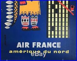 Jean Colin Affiche 1956 Aéronautique Air France Original Vintage Poster