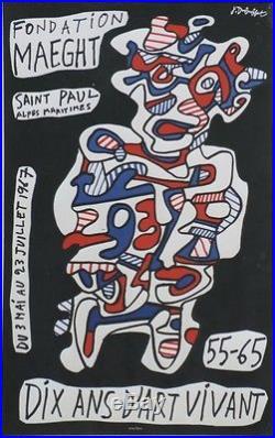 Jean DUBUFFET DIX ANS D'ART VIVANT 55-65 Affiche originale entoilée 1967