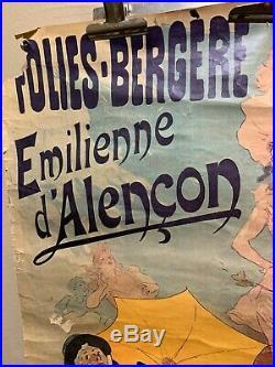Jules CHERET Affiche Ancienne à restaurer FOLIES BERGÈRES E. DAlençon 1893