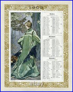 L'AUTOMNE Calendrier original entoilé LES MODES 1902 par Octave GUILLONNET