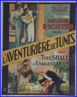 L'AVENTURIERE DE TUNIS Affiche belge entoilée (1931) Willi WOLFF, Ellen RICHTER