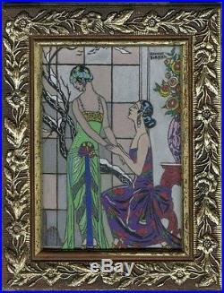 L'AVEU DIFFICILE de Georges BARBIER 1923 Peinture originale gouache sur carton