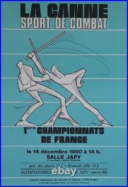 LA CANNE SPORT DE COMBAT / 1ers CHAMPIONNATS 1980 Affiche originale entoilée