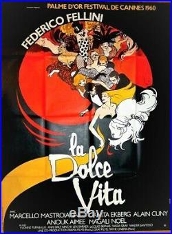 LA DOLCE VITA 1960 Federico FELLINI MASTROIANNI EKBERG 120x160 GRUAU