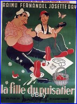 LA FILLE DU PUISATIERAffiche entoilée DUBOUT (Marcel PAGNOL /RAIMU, FERNANDEL)