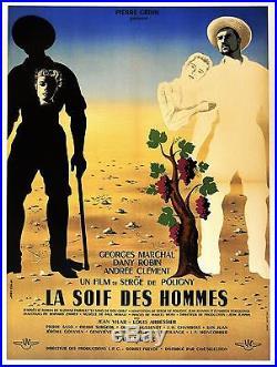 LA SOIF DES HOMMES (Entoilée) Serge de POLIGNY Affiche de Jean COLIN Vins