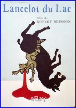LANCELOT DU LAC Affiche originale entoilée Litho SAVIGNAC 1974 Robert BRESSON