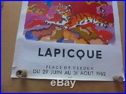 LAPICQUE affiche ancienne Grenoble 1962 Lithographie MOURLOT