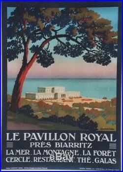 LE PAVILLON ROYAL près BIARRITZ Affiche origin. Litho entoilée CONSTANT-DUVAL