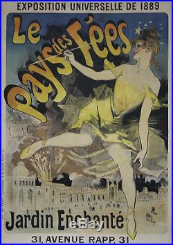 LE PAYS DES FEES / EXPO UNIVERSELLE 1889 Affiche origin. Entoilée Litho CHERET