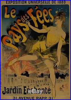 LE PAYS DES FEESAffiche originale entoilée et encadrée Litho Jules CHERET 1889