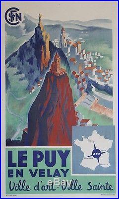 LE PUY EN VELAY / VILLE D'ART VILLE SAINTE Affiche originale entoilée SNCF