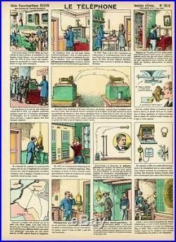 LE TELEPHONE Imagerie d'Epinal originale n° 3818 entoilée début 1900