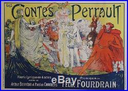 LES CONTES DE PERRAULT Affiche originale entoilée Litho E. SMITH 1913