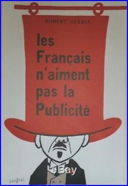 LES FRANCAIS N'AIMENT PAS LA PUB Affiche ressortie entoilée SAVIGNAC 50x73cm