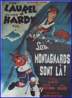 LES MONTAGNARDS SONT LA (SWISS MISS) Affiche entoilée (LAUREL et HARDY)