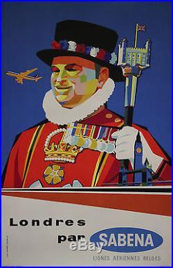 LONDRES par SABENA Affiche belge originale entoilée années 50