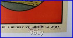 LOT 4 AFFICHES ORIGINALES ANCIENNES ITALIENNES sécurité BELLE LITHO 1929 1930