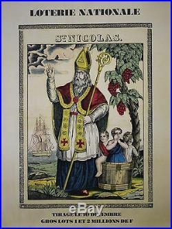 LOTERIE NATIONALE TIRAGE de la SAINT NICOLAS Affiche originale entoilée